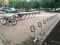 New bike parking area in front of Olds Hall.