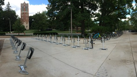 New Main Library bike parking area finished.