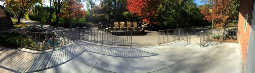 Exterior pano of the new railings installed minus the swing gate (for easier deliveries/ pickups)
