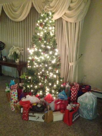 Chi Omega put up their tree, and had their own Christmas party!