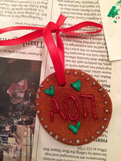 Alpha Omicron Pi and Pi Beta Phi were on the same page, and decorated ornaments as a sisterhood