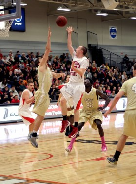 Tyler Vaughn goes for the basket against Southwest Minnesota State last Wednesday in opening round action in the NSIC tournament.