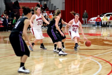 Haley Thomforde drives to the hoop last Wednesday against Sioux Falls in opening round play.