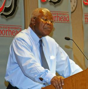 Political science professor, Dr. Andrew Conteh  lectures at a post 9/11  conference.