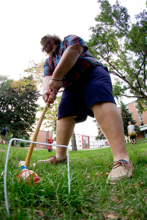 "Undeclared sophomore Adam ""Grizzly"" Lang plays croquet Wednesday as a part of the Kappa Sigma fraternity's first rush week ever. MSUM's only fraternity, which was chartered last year, held events throughout last week."
