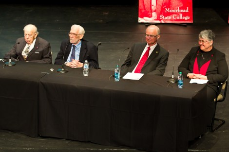 The four living presidents of MSUM participated in a panel discussion Friday in the Hanson Theatre. Seated from left to right are past presidents John Neumaier, Roland Dille, Roland Barden and current president Edna Szymanski. PHOTO BY BEN GUMERINGER