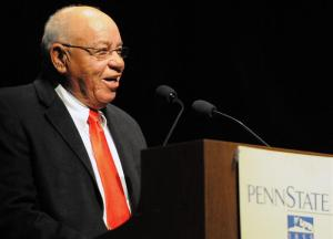 Herman Boone chatting with students after speech.  PHOTO BY DAVID HOUGHTON