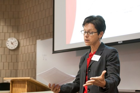 Provost Anne Blackhurst addresses students at a special budget forum on Friday morning in the Center for Business.
