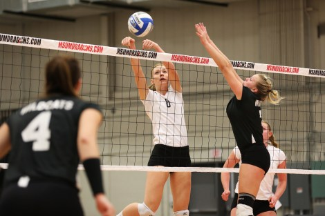 Middle blocker Maggie Gruber goes for the point against Wayne State on Friday.