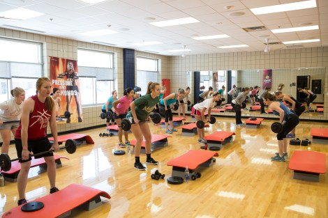 Women participate in a Body Pump class at the Wellness Center on Friday.