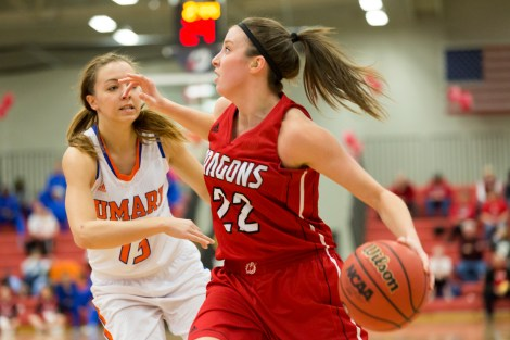 Senior guard Haley Thomforde drives to the basket in the game against the University of Mary on Saturday. The Dragons lost 78-62 to the Marauders.