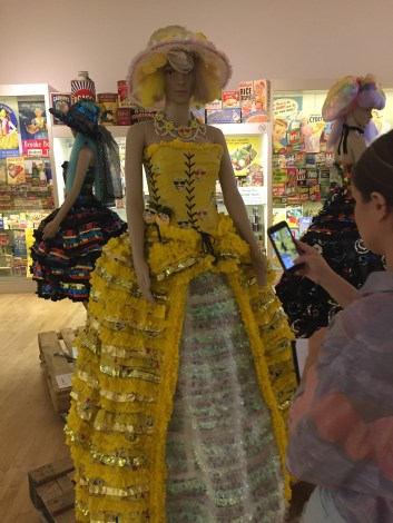An emoji dress at the museum of brands.