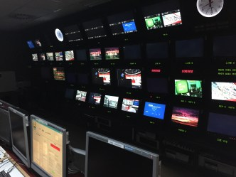 The control room where the directors, producers and productions teams work to oversee the newscast.