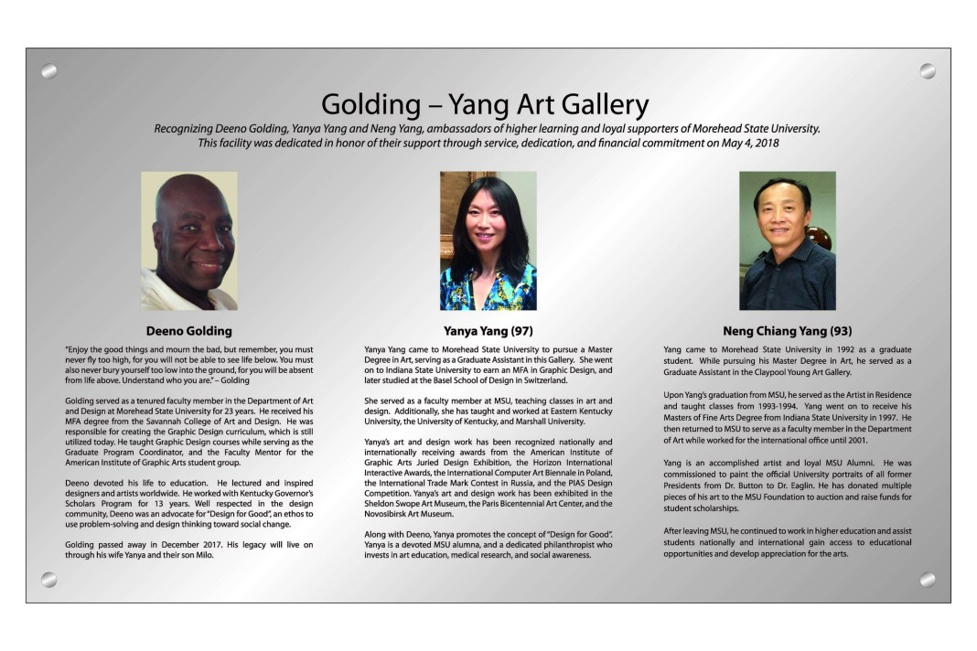 photo: Gallery signage recognizing the Golding-Yang family