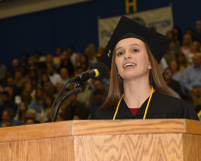 Abby Isaacs (19) of Ashland was the speaker at the morning commencement ceremony, which honored graduates of the College of Science and the Elmer R. Smith College of Business and Technology. Isaacs earned a Bachelor of Science in Biomedical Sciences.