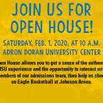 Open House Saturday, Feb. 1 at 10 a.m.