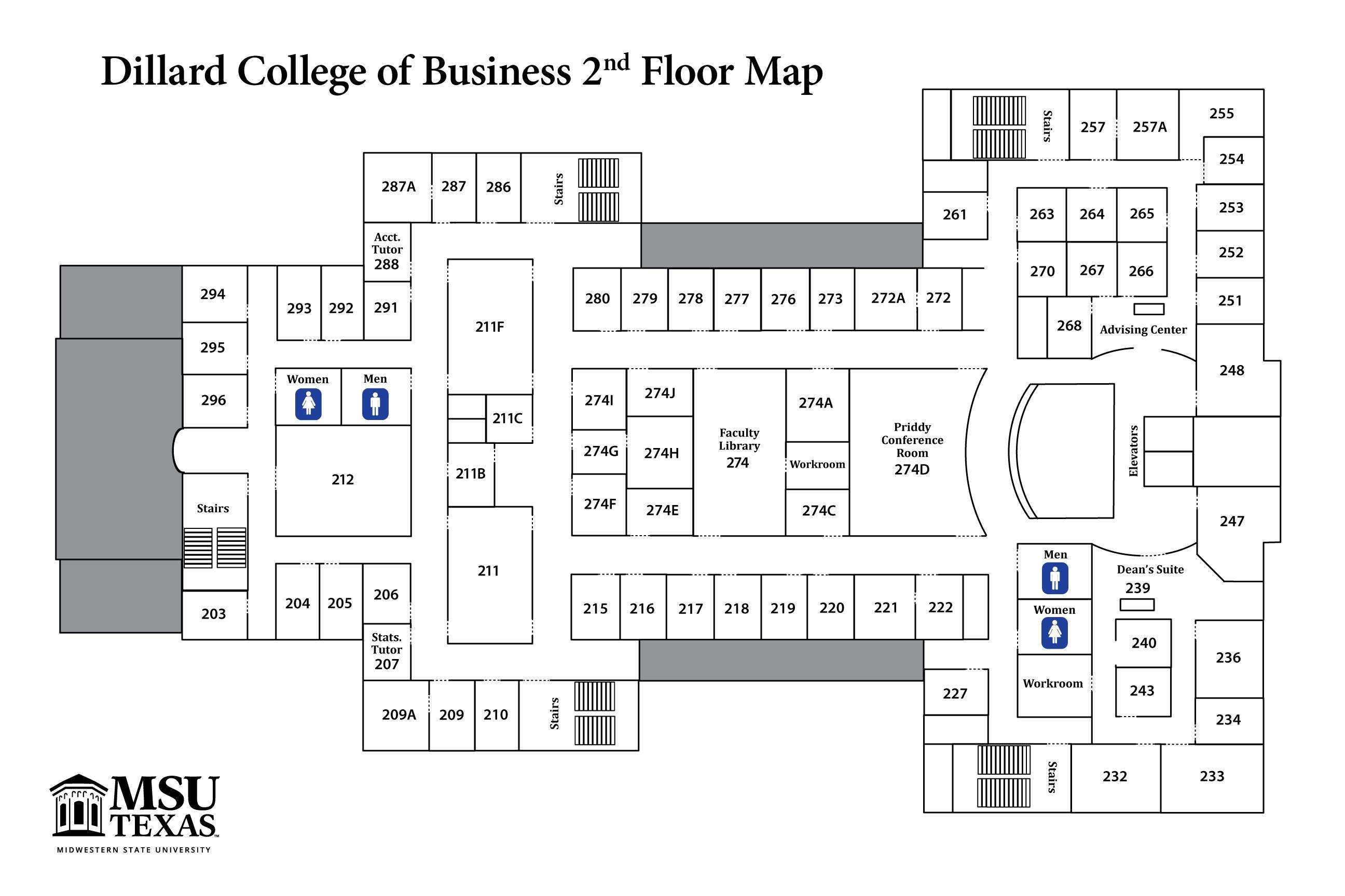 Dillard College Maps College Information Business Academics Msu Texas
