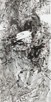 2013, ink on paper mounted as hanging scroll, 15 x 13.5 in