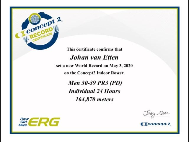 World record certificate