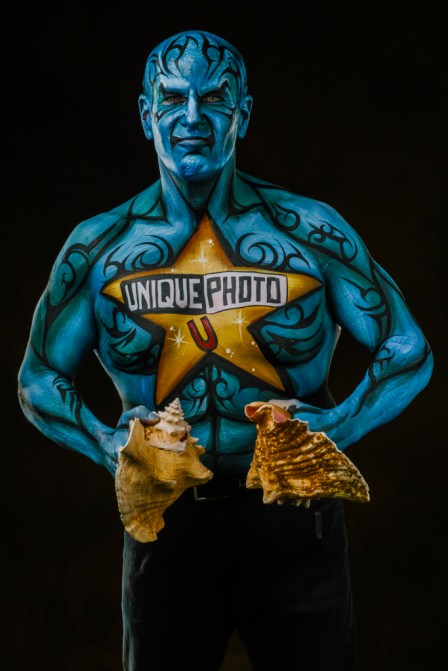That's me, today, body painted for some publicity, at a business event.