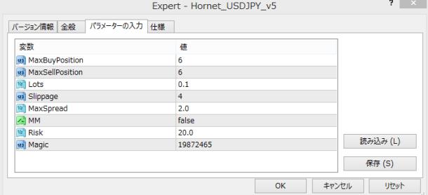 「Hornet USDJPY」の設定出来るEAパラメータ