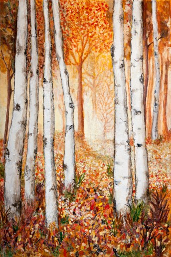 """Caught Moment"" by Carol Christie Castaneda, Mixed media collage, 20"" x 30"". Trees in the foreground begin a path through the woods, that fades into the background."