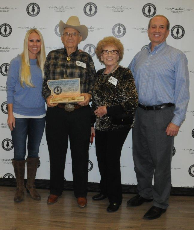 2015 Living Inductee Jack Briggs of Polson, MT poses with his family after he received his plaque at the 2016 Circle the Wagons event.