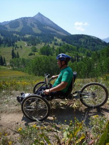 Adaptive Mountain Biking with Crested Butte Mountain in the background