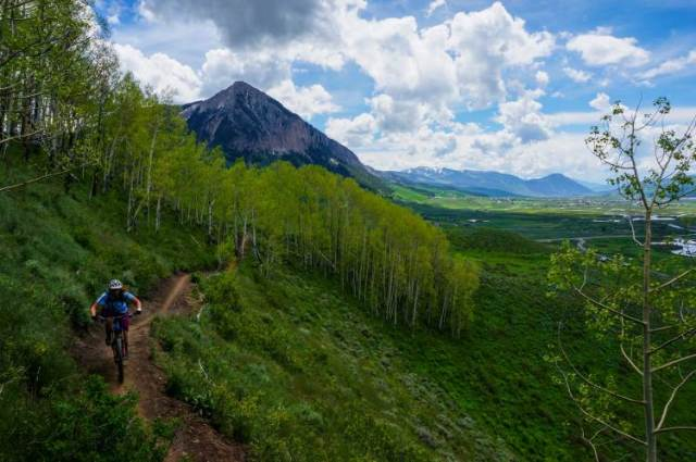 Solo biker riding Lupine 1 trail with Crested Butte Mountain in the background