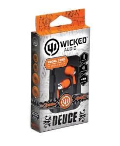 Wicked Deuce with mic orange in ear headphone WI1853
