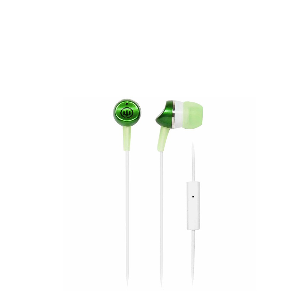 Wicked Metallics with mic green in ear headphone WI952CA
