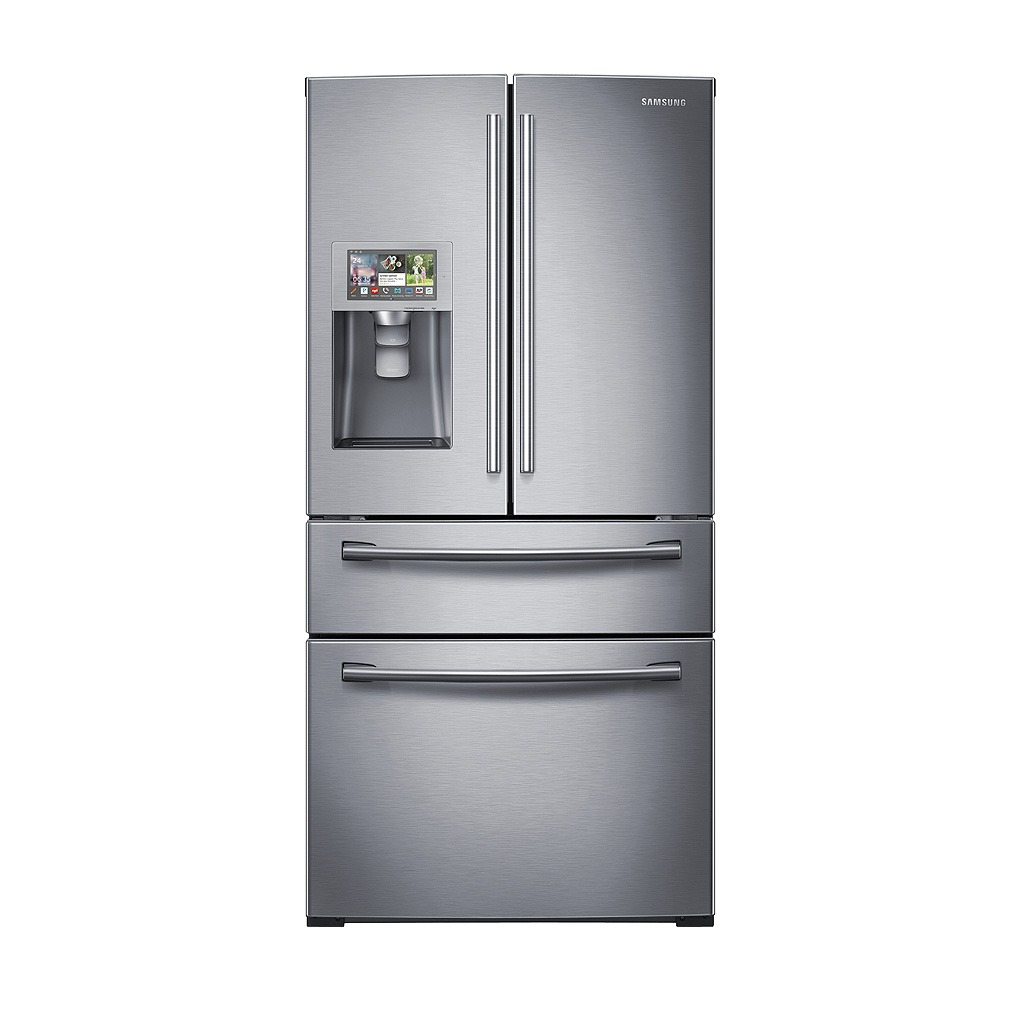 "Samsung 36"" Wide, 28 cu. ft. 4-Door Refrigerator with 8"" Wi-Fi Enabled LCD and Counter-Height FlexZone™ Drawer - Stainless Steel RF28HMELBSR/AA"