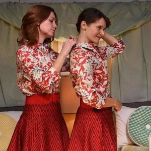 Maura Kidwell and Amy Jean Johnson in TWIN SET, directed by Heather Bodie