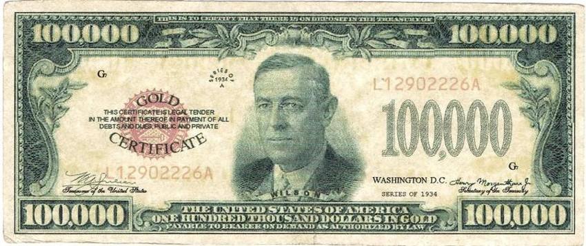 банкноты с номиналом в сто тысяч долларов