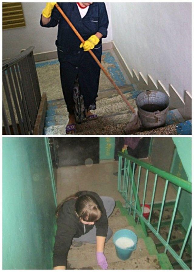 Лестницу с крашенными углами легче мыть