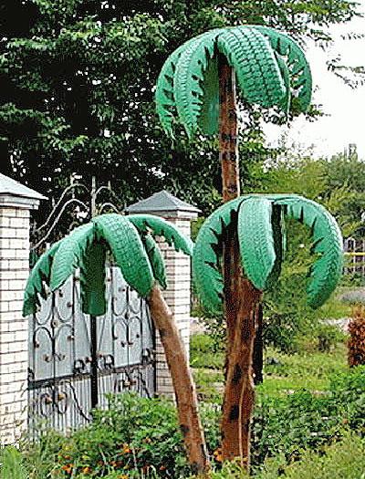 Дерево пальма из шин