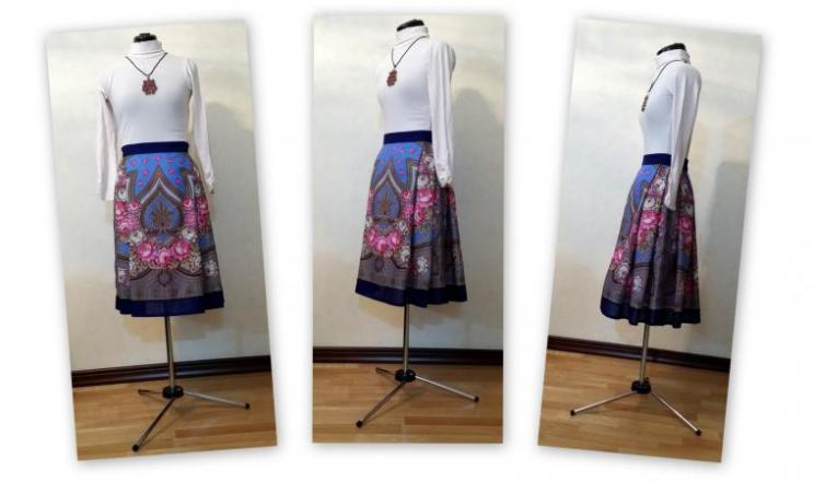 Шьем нарядную юбку в русском стиле из платка за 3 часа