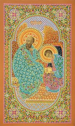 Икона Иоанна Богослова с учеником Прохором на острове Патмос, иконописец Юрий Кузнецов