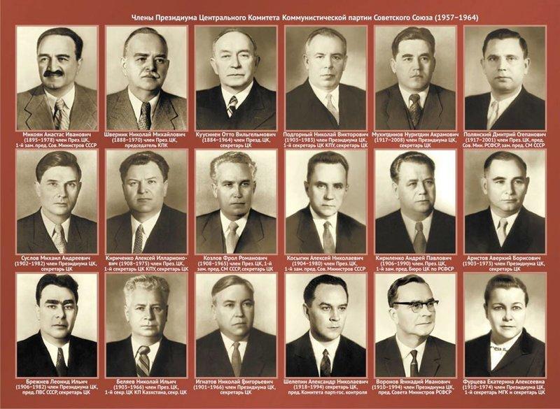 1957-1964. Президиум центрального комитета Коммунистической партии Советского Союза СССР, память, россия
