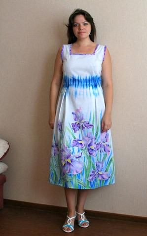 Роспись юбки для платья из хлопка в технике холодного батика 0