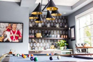 billiards table with lighting