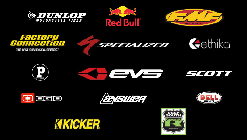 Dunlop motorcycle tires, Factory Connection suspension, Ogio, Red Bull, Specialized Bicycles, EVS, Answer, FMF, Ethika, Scott Goggles, Bell Helmets, Deep South Kawasaki logos arranged on the screen