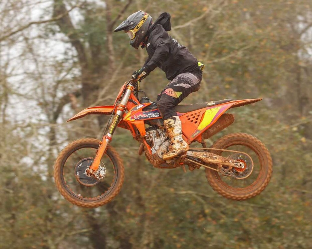 Dominic Grenga jumps a table top on the motocross track