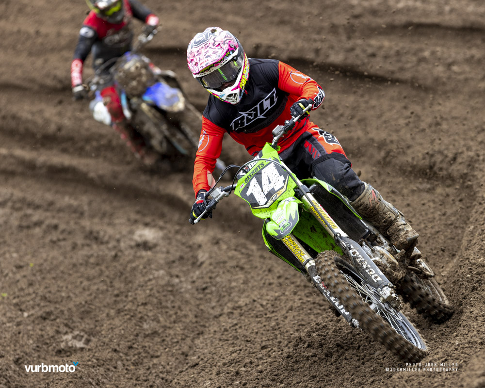 Diesel Geerdts rounds a corner on the motocross track.