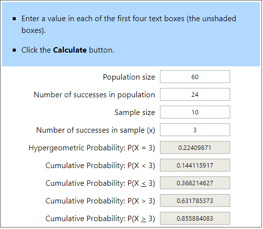 Hypergeometric Calculator Example 2
