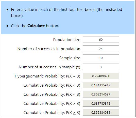 Hypergeometric Calculator Example 2