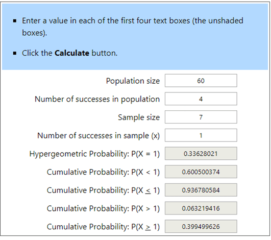 Hypergeometric Calculator Example 3