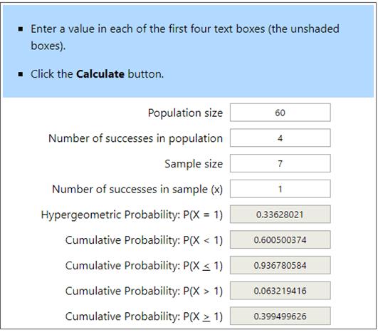 Hypergeometric Calculator Example 3