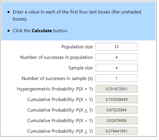 Hypergeometric Calculator Example 4