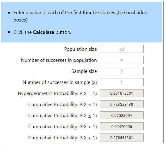 Hypergeometric Calculator Example 4